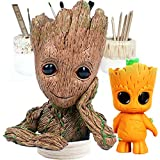 Groot Action Figures Guardians of The Galaxy Flower Pot,Baby Groot Planter Pot, Creative Pen Holder, and Groot Keychain Movie Tree Man, Cute Pen Pot, Scadoos Toy Best Gift