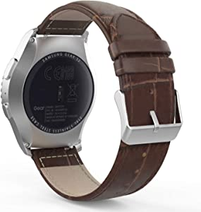 MoKo Band Compatible with Samsung Galaxy Watch 3 41mm/Gear S2 Classic/Galaxy Watch 42mm/Galaxy Watch Active/Active 2/Vivoactive 3, 20mm Leather Crocodile Pattern Strap - Brown