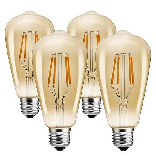 Vintage Edison LED Bombilla, JaiHo ST64 E27 4W Bombilla Decorativa Bombillas LED de Filamentos Antiguos