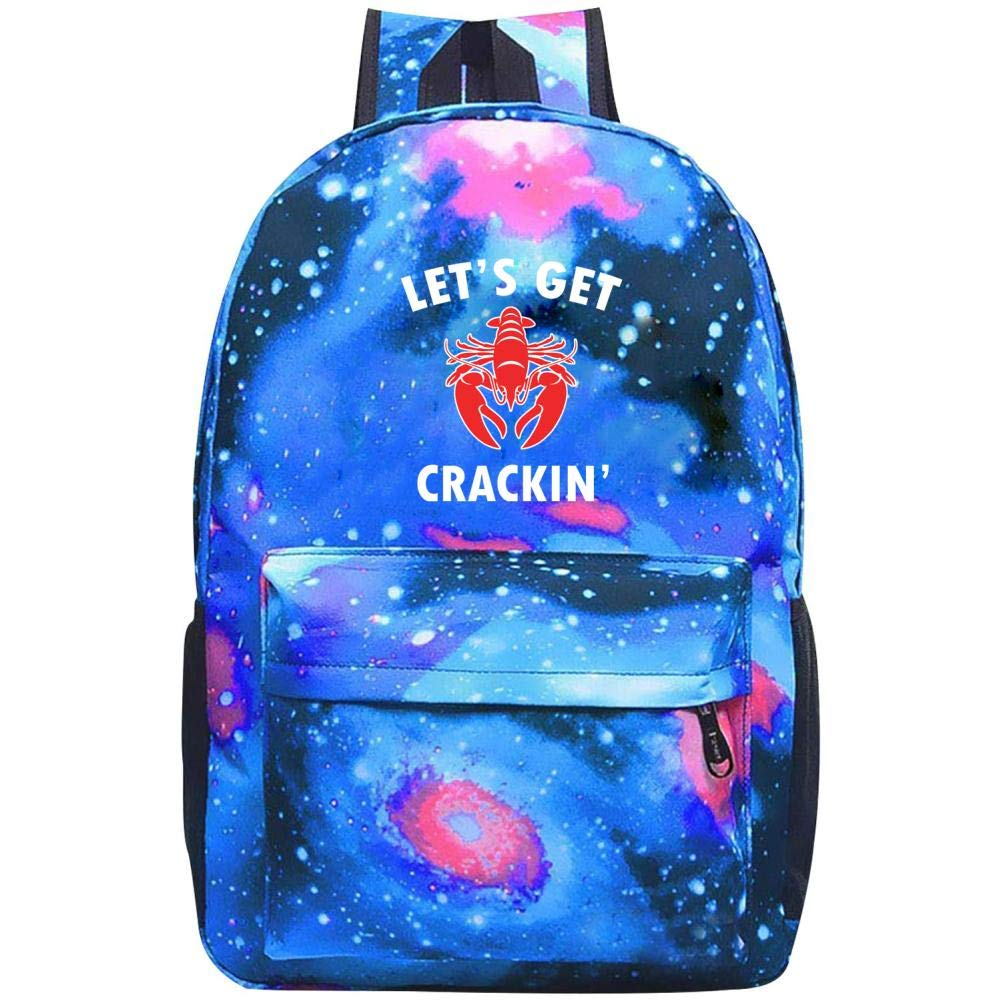 Lets Get Crackin ロブスター ラバー ギャラクシー 宇宙 銀河 学校 バックパック スクールバッグ 大容量 20~35L バッグ ONE SIZE B07NS7XS6T ブルー ONE SIZE