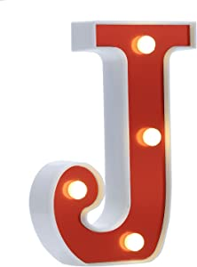 LED Marquee Letter Lights 26 Alphabet Light Up Red Letters Sign Battery Powered Perfect for Night Light Wedding Birthday Party Christmas Lamp Home Bar Decoration(J)