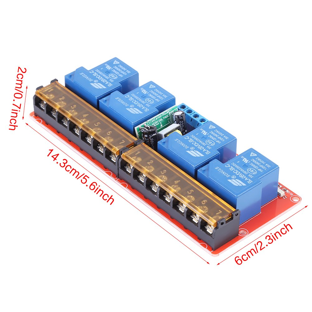 AC100V-250V 30A 4 Kanal Relais Hohe Leistung DC5V High-Low-Level Trigger Schalter Modul f/ür Arduino