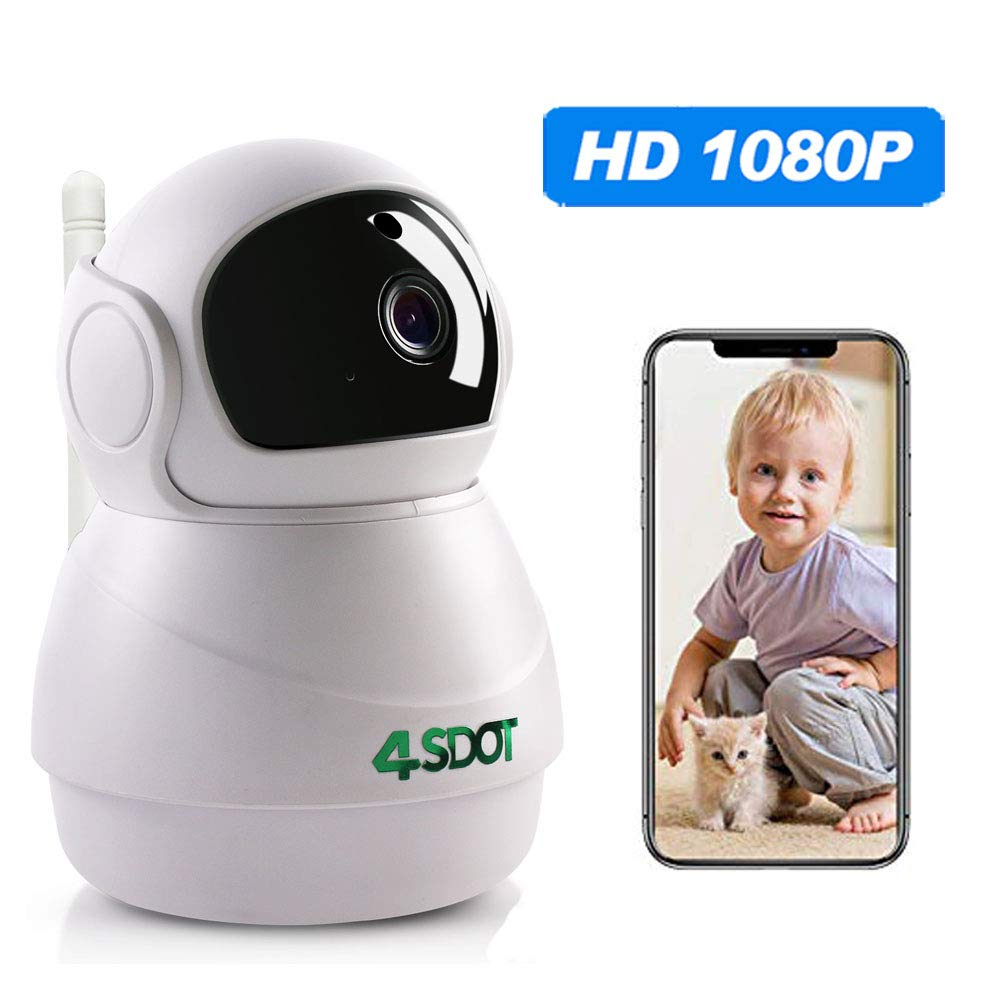 Wireless IP Camera 1080P,Nanny Cam,360 Degree Smart WIFI Camera Pan/Tilt/Zoom with Cloud Service,3D Image Touch Navigation,Panoramic View Night Vision,Two-Way Audio,Motion Detection for Elder,Baby,Pet by 4SDOT