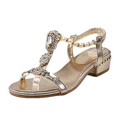 b6b65166f0 Amazon.com: Women's Summer Bohemia Rhinestone Shoes Ladies Open Toe ...