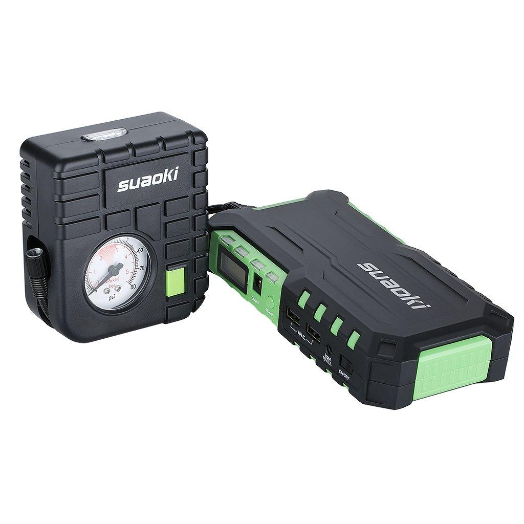 Green Suaoki G7 Car Jump Starter Battery 600A 18000mAh with Mini Air Compressor