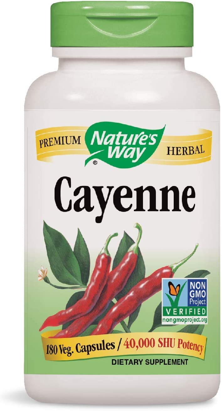 Nature s Way Cayenne 40,000 SHU Potency, 180 Vegetarian Capsules, Pack of 2