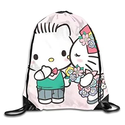 18c47a0a0 Amazon.com: Meirdre Unisex Hello Kitty and Dear Daniel Sports Drawstring  Backpack Gym Bag: Home & Kitchen