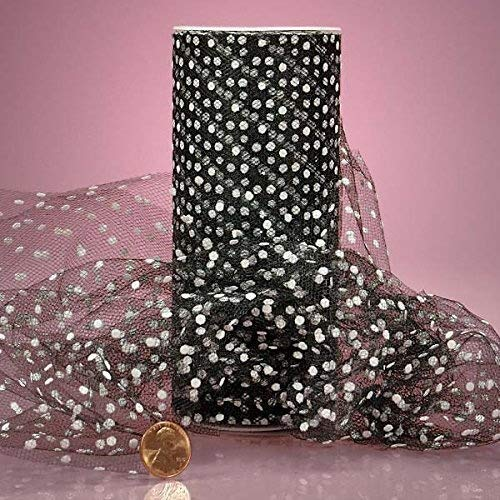 Polka Dot Tulle Ribbon Rolls - 25 Yards - 6 Inches Wide (Small DOT - Black with White Dots)