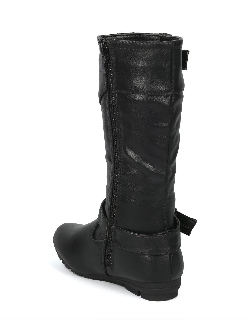 Alrisco Girls Leatherette Buckled Tall Riding Boot HF94 - Black Leatherette (Size: Little Kid 11) by Alrisco (Image #3)