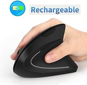 Ergonomic Wireless Mouse, Acedada Rechargeable 2.4G USB Wireless Vertical Ergonomic Mouse, 800/1200 /1600 DPI, for Laptop, Desktop, PC, Computer, Notebook - Black