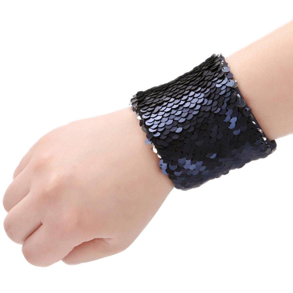 Mermaid Bracelet for Party Favors, Christmas Gifts, Two-color Reversible Charm Sequins Wristband Magic Calming Bracelets for Kids, Girls, Boys - Super-soft Velvet Lining (Navy& Silver, velvet) RC-MB