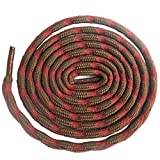DELELE 2 Pair Round Wave Shape Non Slip Heavy Duty and Durable Outdoor Climbing Shoelaces Red&Brown Hiking Shoe Laces Shoestrings-47.24'