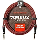 AMBOZ CABLES  Red Dragon Guitar Cable Sturdy Instrument Cable For Electric and Bass Guitar, 10 Feet Straight-Straight