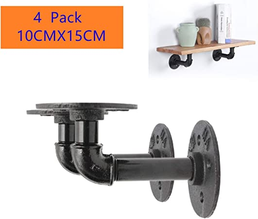 2-8Pcs 3//4/'/' Industrial Retro Style Iron Pipe Shelf Holder Brackets DIY Decor
