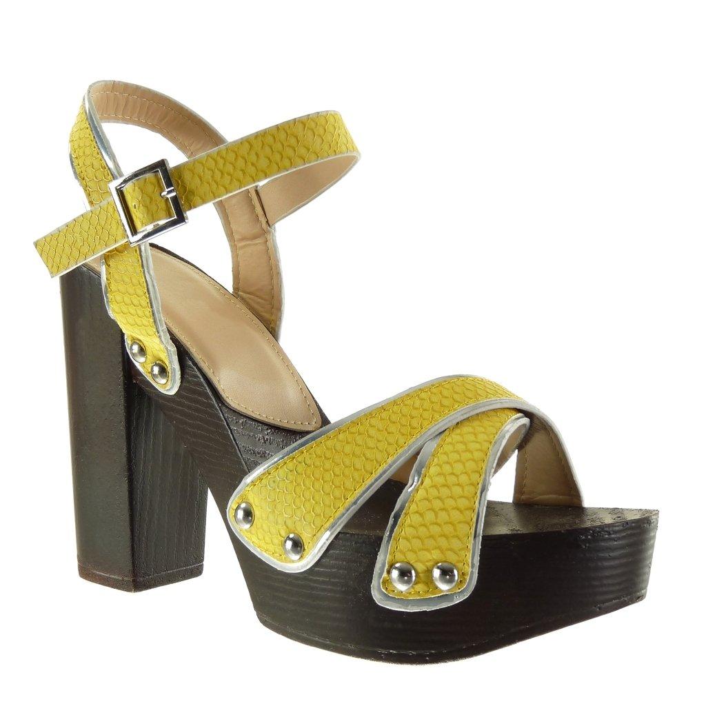 Angkorly Damen Schuhe Sandalen - Plateauschuhe - Schlangenhaut - Nieten - Besetzt - String Tanga Blockabsatz High Heel 12 cm Gelb