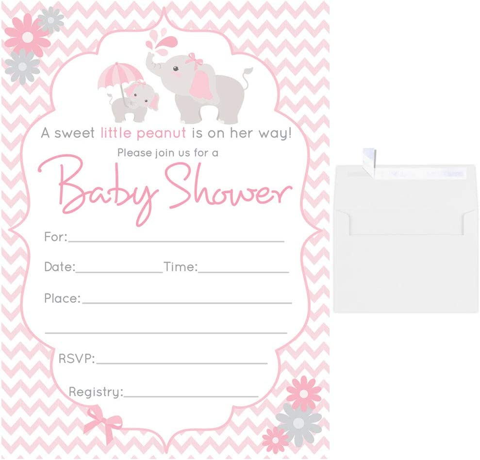 50 Fill in Blank Baby Shower Invitations Elephant with White Envelopes Pink