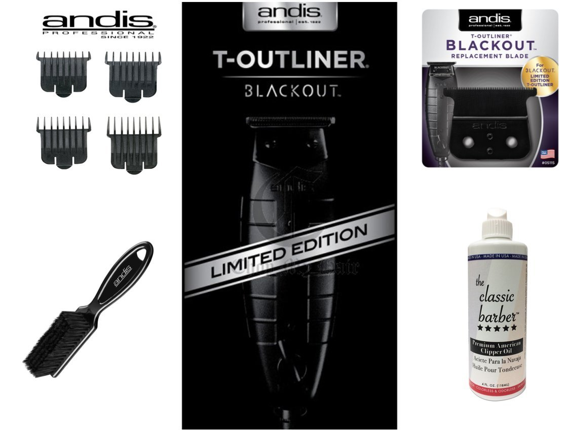 Andis 05110 T-Outliner - Black Out - Bundle includes: Replacement T-outliner Blackout Blade, #23575 Clipper Comb Set, Andis Blade Brush, & The Classic Barber Clipper Oil