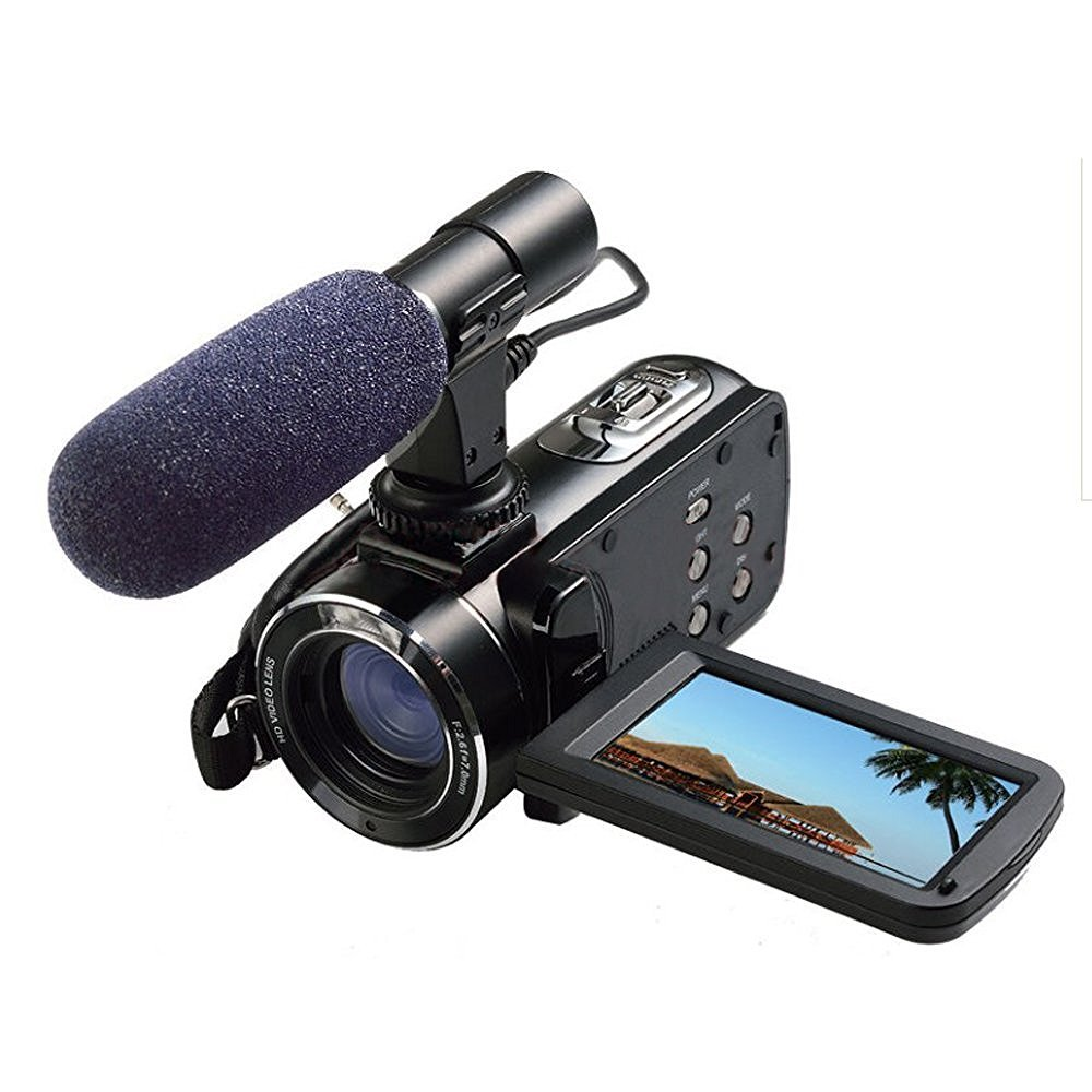 Full HD Digital Video Camera with External MIC, Model HDV-Z20 (Includes 8GB SD Card as a Free Bonus!) - Digital Camcorder with Professional Camera Mounted Shotgun Boom Microphone by Emperor of Gadgets
