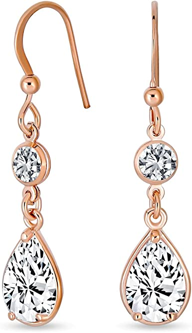 Rose Gold Teardrop Earring. CZ round with Teardrop Earring AAA Cubic Zirconia  Rose Gold  Teardrop Earring