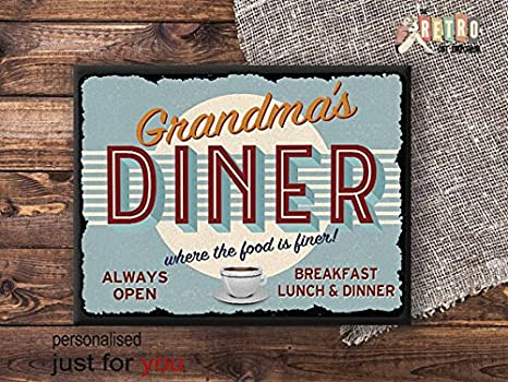 50s style american diner picture metal wall art sign retro kitchen house gift