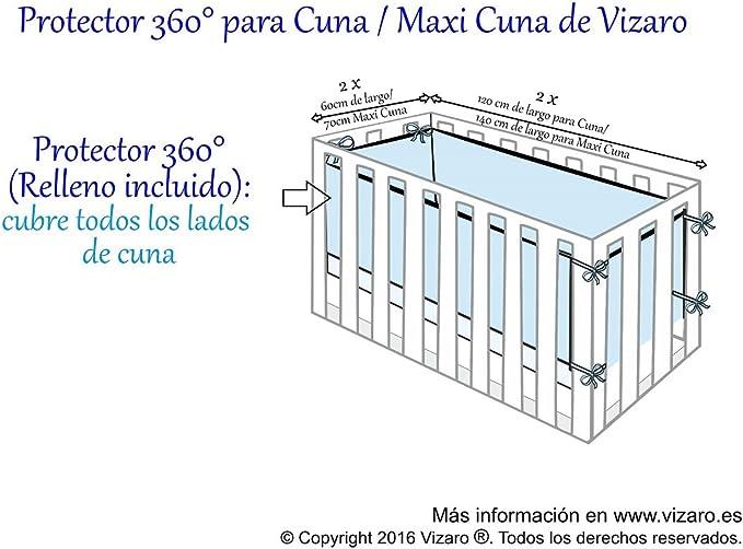 C desenfundable CHICHONERA 360/° COMPLETO Cuna 60x120cm ALTA CALIDAD certificado OekoTex sin sustancias nocivas B/úhos Vizaro 100/% ALGOD/ÓN PURO con cremallera PROTECTOR hecho en UE