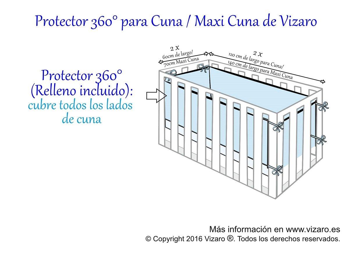 CHICHONERA 360/° COMPLETO MaxiCuna 70x140cm C Estrella certificado OekoTex 100/% ALGOD/ÓN PURO con cremallera PROTECTOR ALTA CALIDAD desenfundable hecho en UE Vizaro