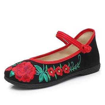Zapatos Bordados Respirables del Estilo Chino Zapatos Ocasionales del Verano de Las Mujeres Resbalón Plano Inferior de la Madre Zapatos Antideslizantes ...