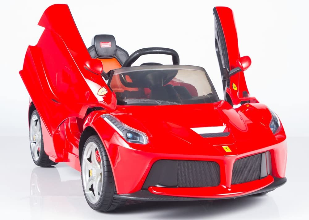 Amazon Com Power Wheels Incredible 12v Ferrari Style Battery Operated Ride On Car For Kids With Remote Control Music Lights Mp3 Toys Games