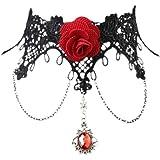 Da.Wa Halskette Spitze Gothic schmuck | halskette rot + schwarze Spitzen Kette für Hochzeit | Halsketten Schmuck für Damen und Frauen als Kette