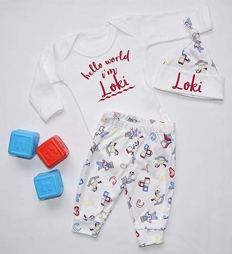 7b1eea387 Personalised Hello World I m Name Nursery Baby Vest Pants and Hat ...