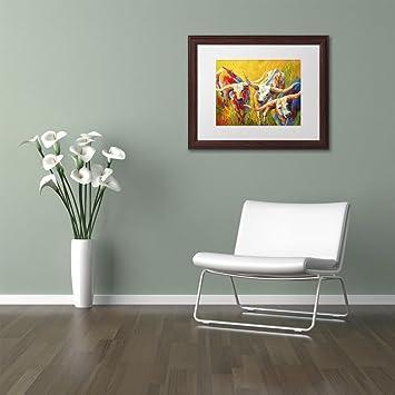 White Matte Wood Frame 11x14 Trademark Fine Art Dance of The Longhorns by Marion Rose Wall Art