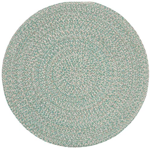Safavieh BRD701Y-5R Braided Collection BRD701Y Handmade Teal and Ivory Premium Cotton Area (5' Round) Rug,