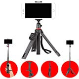 Joby TelePod Mobile JB01550-BWW Tripod for Smartphoneand Camera - Bluetooth Remote, Monopod, Selfie Stick, Vlogging Tripod with Ball Head and Clamp for iPhone, Mirrorless, 360, Action Camera, Lights