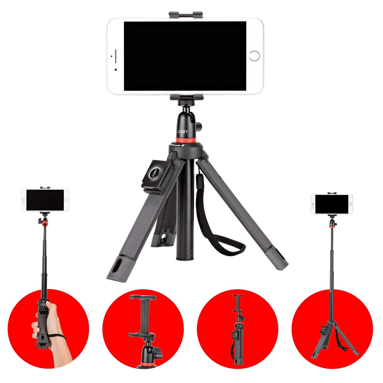 punto y disparos flash y LED Joby TelePod Kit Black Sony Nikon sin espejo c/ámara de acci/ón Monopi/é extensible 360 v/ídeo palo selfie tr/ípode de mesa con cabezal de bola Para; Canon Fuji