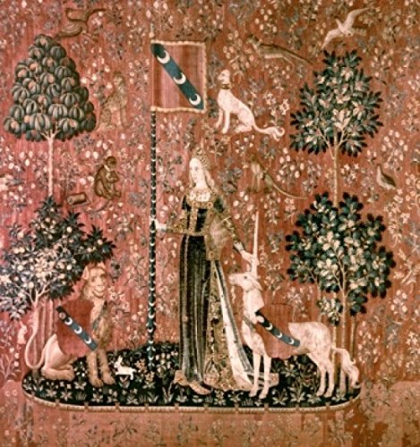 Posterazzi Lady And The Unicorn - Sense Of Touch 15th Century Tapestry (Flemish) Musee National du Moyen Age Thermes & Hotel de Cluny Paris France Poster Print (24 x ()