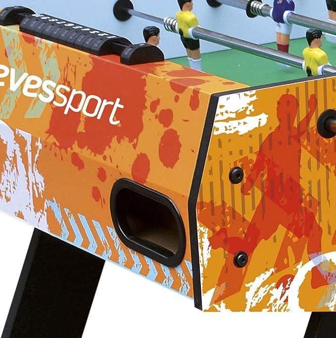 Devessport - Futbolín infantil plegable recomendado para niños a partir de 7 años - Barras telescópicas - Incluye ruedas para transportarlo - Fácil de guardar - Medidas: 121 x 61 x 81 Cm: Amazon.es: Juguetes y juegos