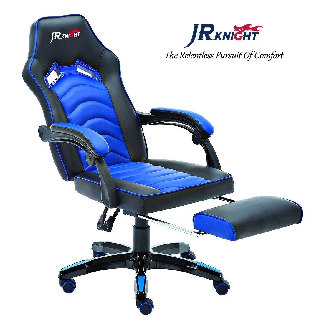 Sedia gaming ergonomica, design a rombi, in ecopelle, girevole, con schienale reclinabile, bracciolo e poggiapiedi flessibili (blu, LC-02BKBL) JR Knight