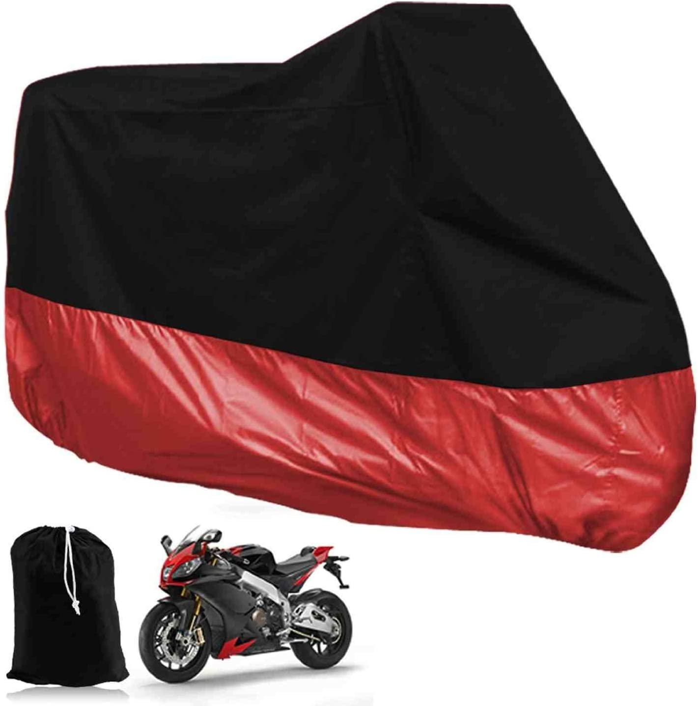 DeliaWinterfel XXL Motorcycle Foldable Waterproof Tarpaulin Cover For Garage Outdoors Red and Black With Pocket 265 x 105 x 125cm