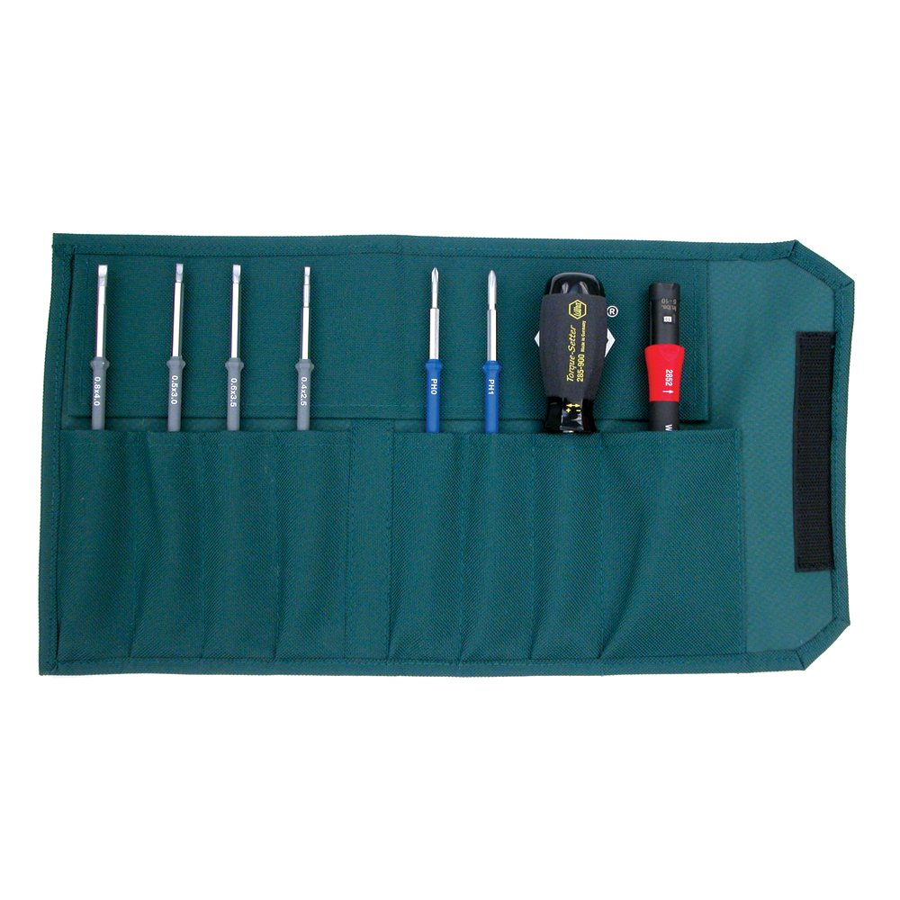 Wiha 28596 TorqueControl Set with Slotted and Phillips Blade Set in Pouch, 8 Piece