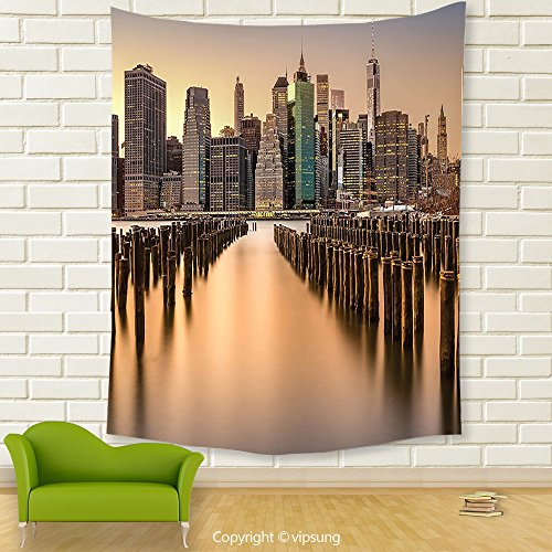 Vipsung House Decor Tapestry_Scenery House Decor Long Exposure Of The Manhattan Skyline And Brooklyn Pier Urban Life Nyc Multi_Wall Hanging For Bedroom Living Room Dorm (Halloween Dog Parade Brooklyn)