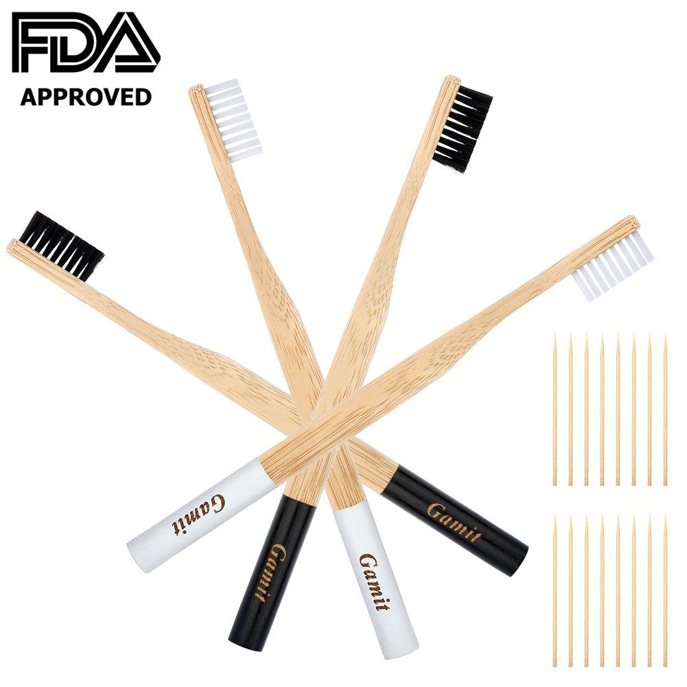 Natural Bamboo Toothbrush BPA Free Medium Bristles Renewable Natural Dental Care for Men & Women Pack of 4, Black and White Color.