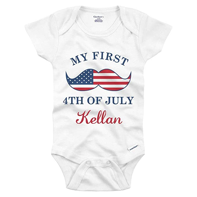 c6c9bfe25 Amazon.com: My First 4th of July Kellan Mustache: Infant Gerber ...