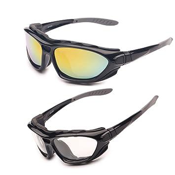 EnzoDate Gafas de la motocicleta Polarized Clear Lenses Day Night, Gafas de sol para el casco Temples intercambiables Correa