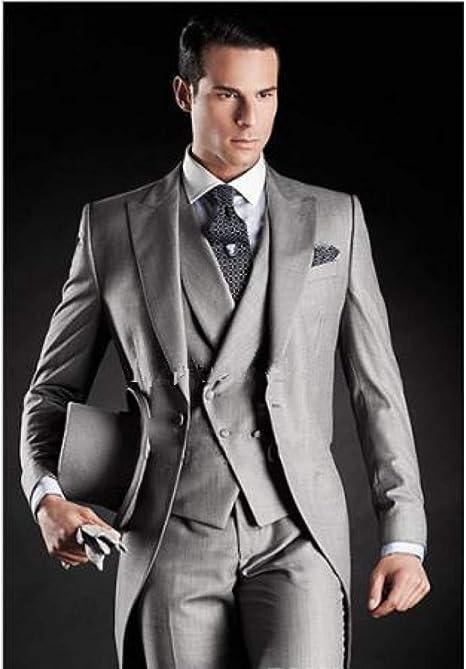 GFRBJK Hermosa Brilliant Light Gray Morning Blazer Novios Tuxedos ...