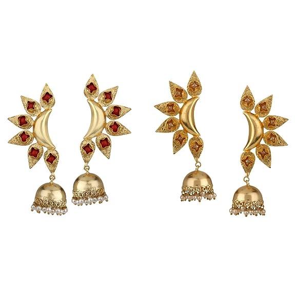 Dangle Stud Earrings Fan Shaped Dangle for Women Rhinestone Faux Pearl Teen Girl Prom Banquet Gold Plated