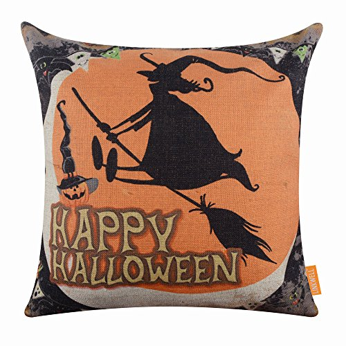 (LINKWELL 18x18 inches Happy Halloween Witch on The Broom Design Burlap Cushion Cover)