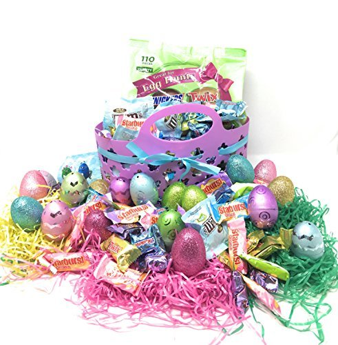 Easter Basket Gift Set: Purple Easter Basket With Ribbon, Tri - Colored Easter Grass, Metallic, Frosted - Matte & Glittery Hollow Plastic Easter Eggs - Mars Spring Chocolates Variety Mix, Candy Bars