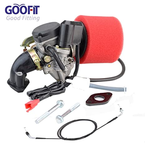 GOOFIT Carburetor Air Filter Intake manifold Throttle Cable for GY6 50cc  Scooter Go Karts Moped