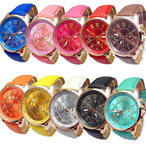 ex Tally Style Silicone Watch Women Men Leather Belt Gold Sport Watch (Lady Leather Belt Watch)