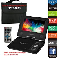 """7"""" Swivel Screen Portable DVD Player TEAC DVP713C Easy entertainment on the go Enjoy your favourite DVDs on the go with the DVP713C 7"""" portable DVD player. Equipped with carry bag and car adaptor, the DVD player is perfect for travel and long road trips. Includes USB and SD/MMC multimedia playback, and also plays photo, video and music CDs. Audio CDs can be ripped to USB and SD/MMC as MP3 files. With multi zone support and output to TV, you can enjoy the best of DVD entertainment any time"""